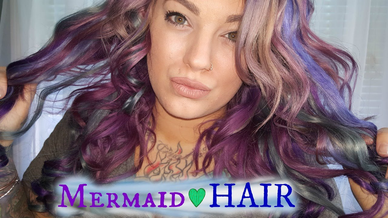 Diy Mermaid Clip In Hair Extensions Hair Color Tutorial No Sew