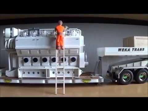 Tamiya 1/14 RC truck VOLVO FH12 (rigging the AWSOME engine a Wärtsilä 12V 32) - YouTube