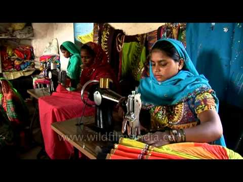 Women tailors of Rajasthan sewing colourful ethnic clothes!