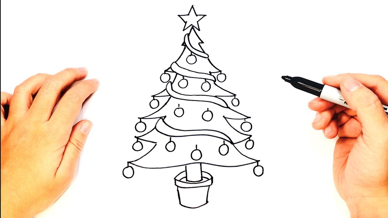 How To Draw A Christmas Tree Christmas Tree Easy Draw Tutorial Youtube