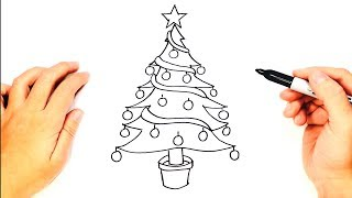 How to draw a Christmas Tree | Christmas Tree Easy Draw Tutorial