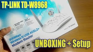 TP-LINK TD-W8968 Wireless N USB ADSL2 Modem Router Unboxing Full Setup Speed Test HINDI