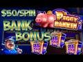 HIGH LIMIT Lock It Link Piggy Bankin' 🔒$50 Bonus Round Slot Machine Casino