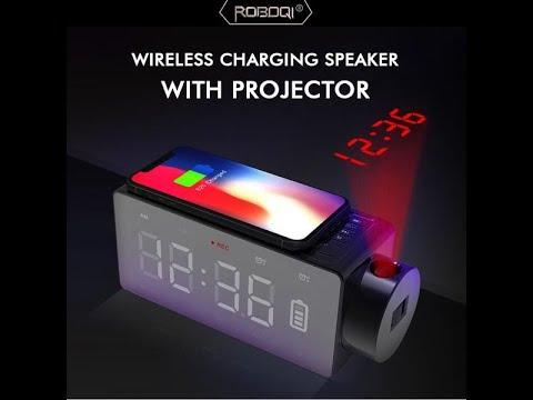 ROBOQI Bluetooth Speaker Wireless Charging with Projector, DIY Alarm, Stereo Sound, FM Radio Clock