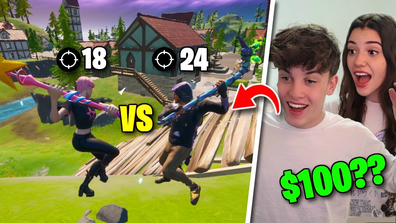 I Challenged my Girlfriend to a KILL RACE for $100 in Fortnite...