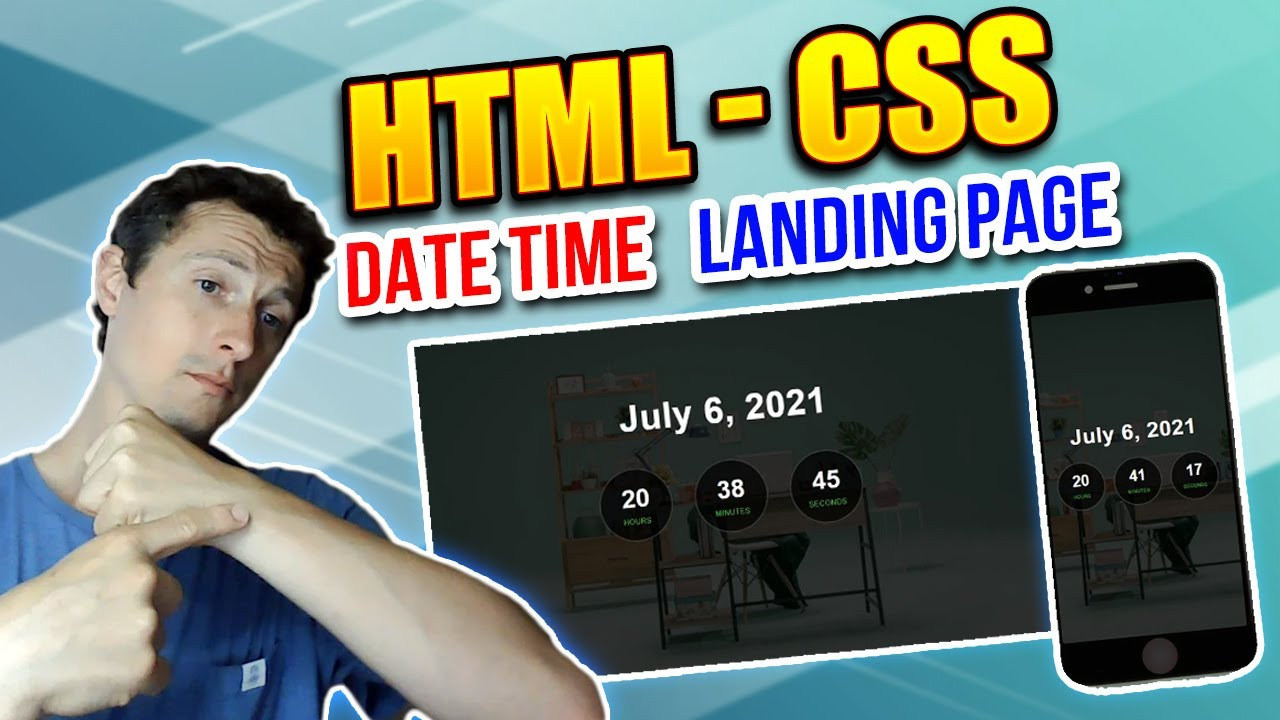 Responsive Clock Landing Page Using HTML and CSS