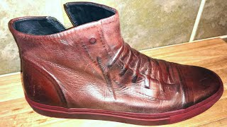 John Varvatos Reed Ghosted Lace-up. WholeCut Calfskin. Red Bottom. High-Top Sneaker. Watch N Shoes!