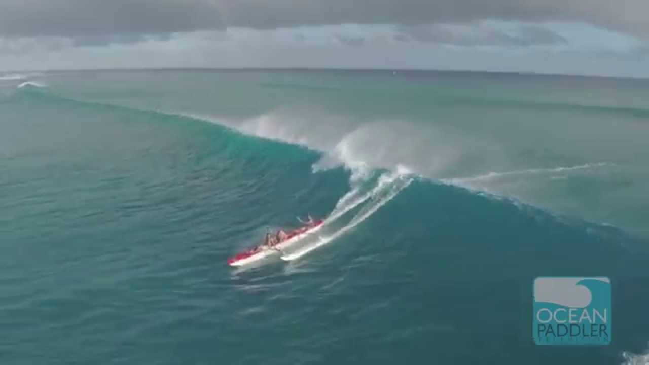 Big Wave Canoe Surfing Action