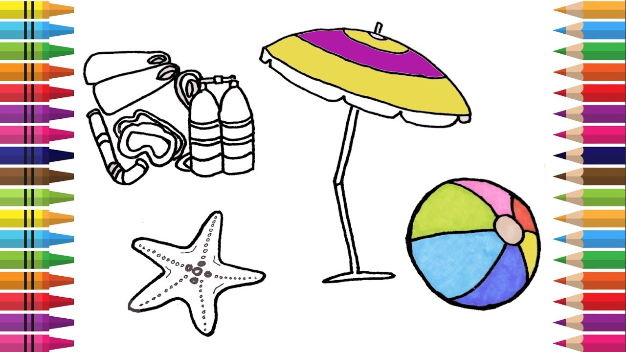 How to Draw Summer Accessories, Coloring Book  Coloring Pages Summertime,  Videos for Kids