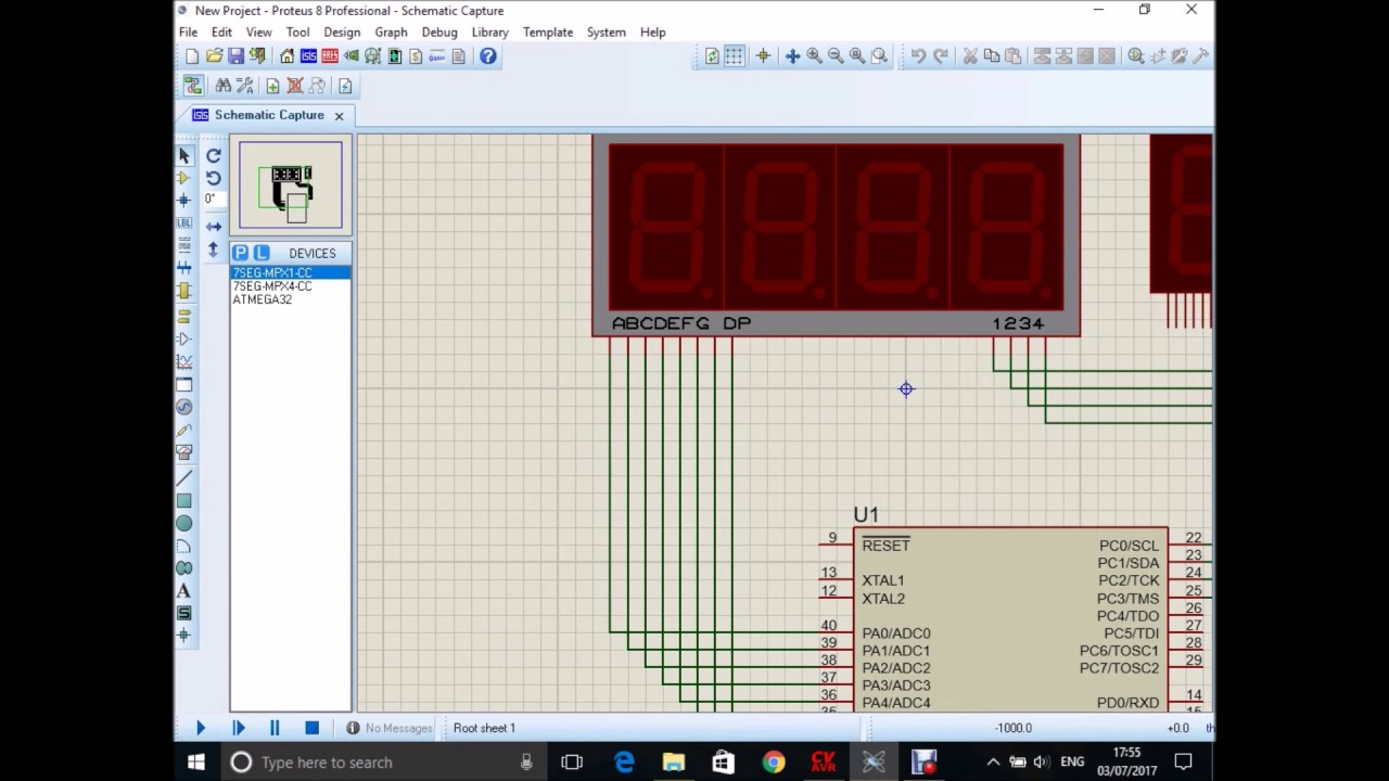 Atmega32 Micro Controller Multi 7 Segment Display Youtube Logisim Electronics And Micros