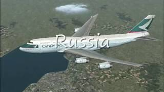 FS2004 16 Hour Flight From Hong Kong to London by Cathay