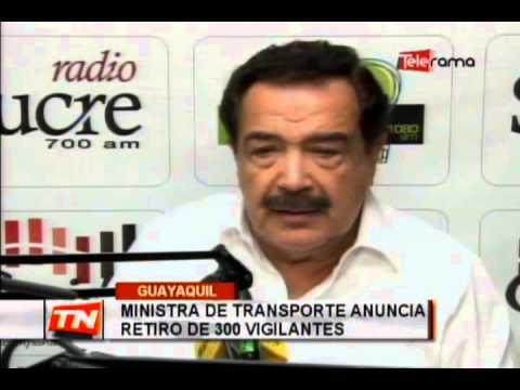 Ministra de transporte anuncia retiro de 300 vigilantes