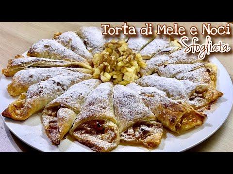TORTA DI MELE E NOCI SFOGLIATA  ricetta facile e veloce PUFF PASTRY APPLE PIE  - TUTTI A TAVOLA