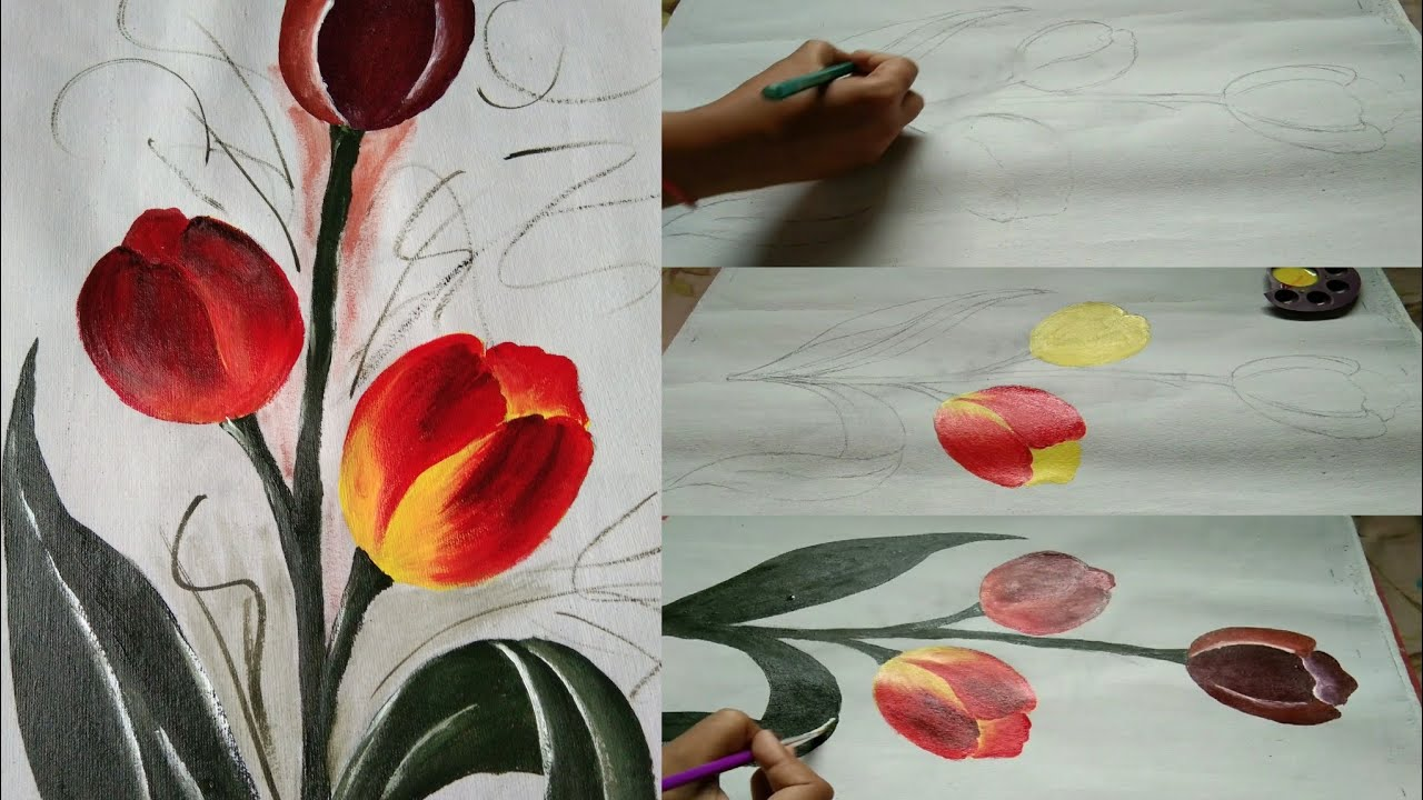 Tulip flower painting   Easy Acrylic painting tutorial  a ...