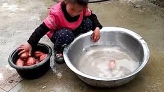 穷人家的孩子早当家,这个农村七岁的小女孩看哭千万人!