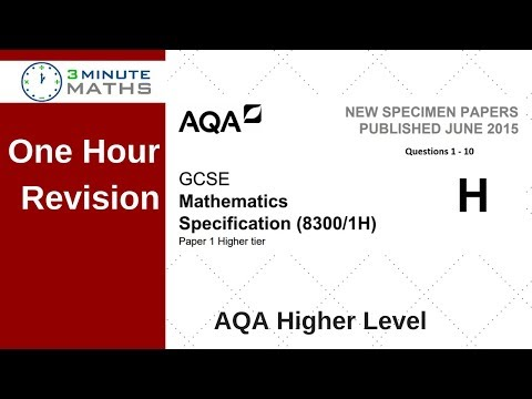 One Hour Revision - AQA GCSE Higher Maths Non Calc Questions 1 - 10