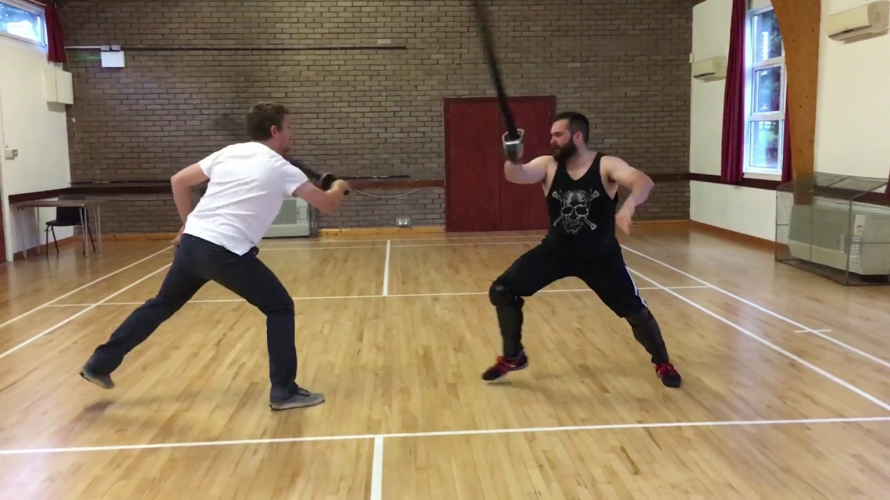 Sabre sparring with foam sabres and no protective gear