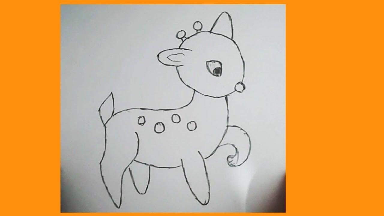 Yavru Geyik çizimi Kolay Hayvan çizimi Youtube