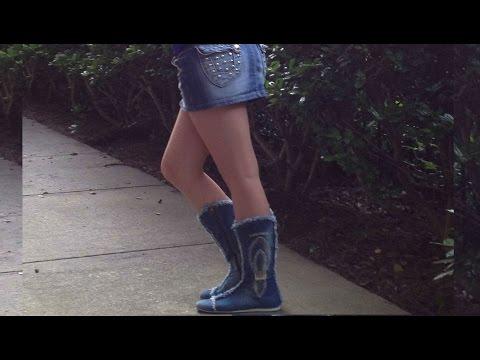 Демисезонные джинсовые сапоги !  (Примерка в конце видео)