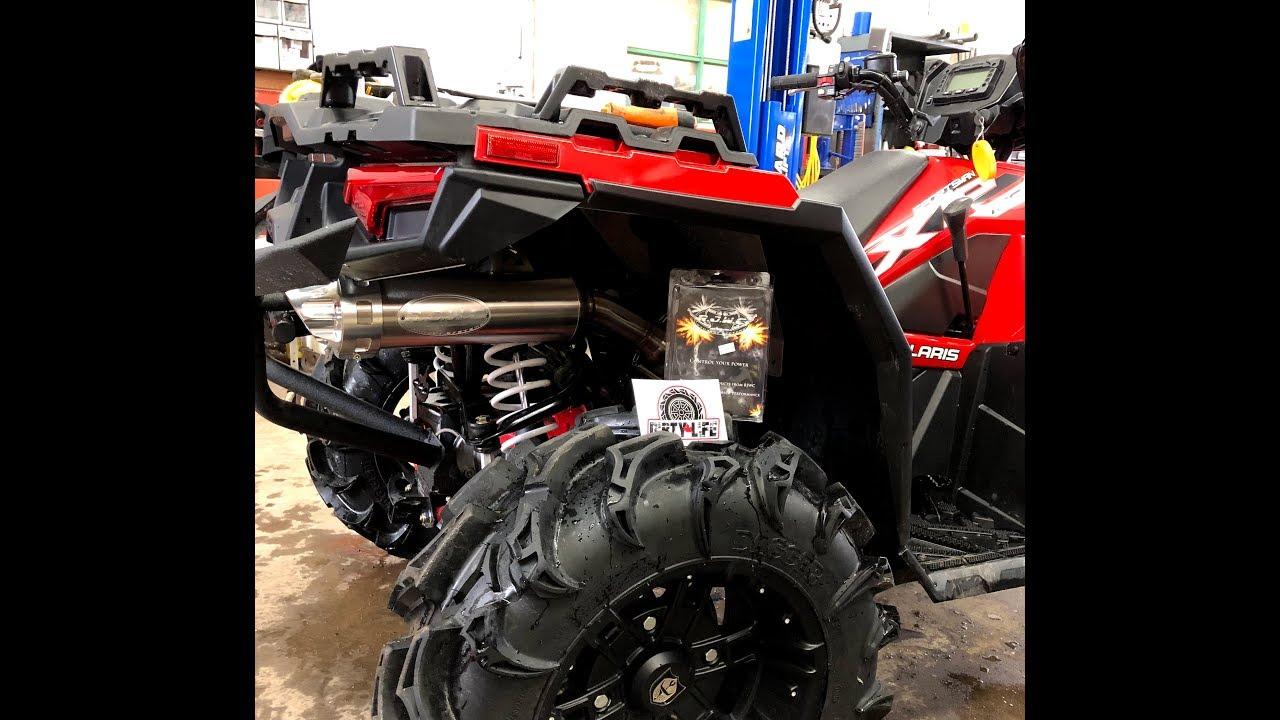 2017 2019 polaris sportsman xp 850 1000 rjwc single slip on exhaust