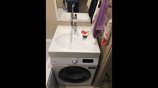видео Раковина над стиральной машиной (раковина-кувшинка)
