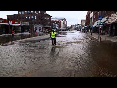 Water main break on Main Street in Concord, New Hampshire.