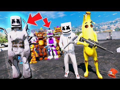 CAN MARSHMELLO & BANANA SAVE ALL THE ANIMATRONICS FROM NIGHTMARE MARSHMELLO? (GTA 5 Mods FNAF) thumbnail