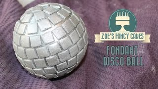 Fondant disco ball cake topper for 70s cake decorating tutorial