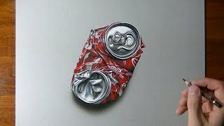 How to draw a crushed coca-cola can