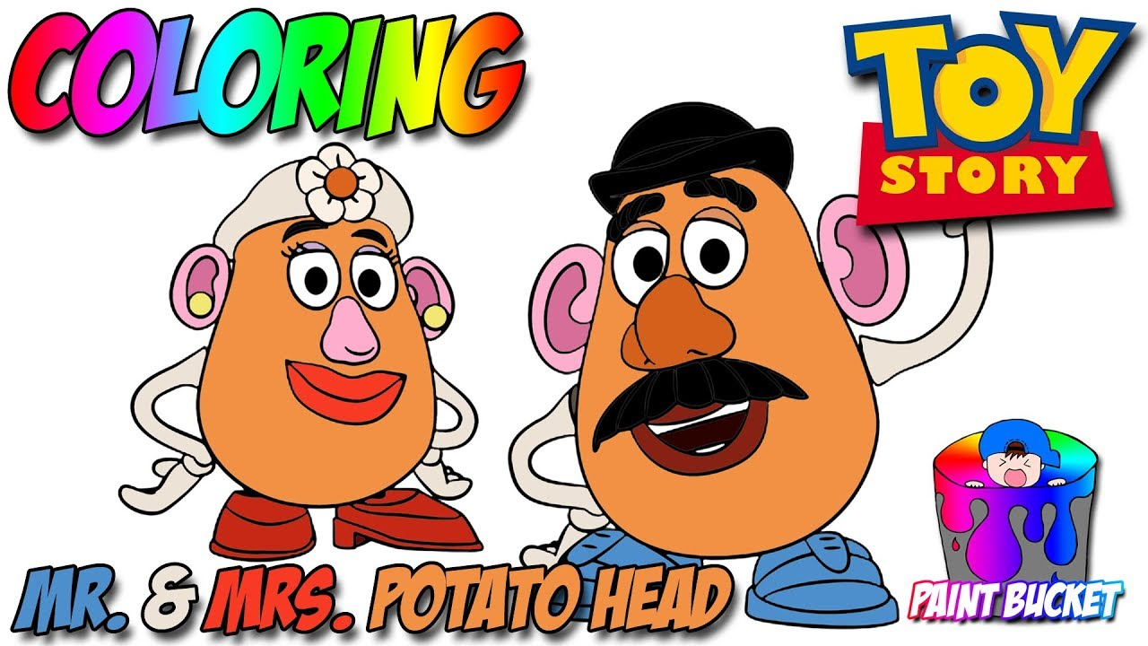 Disney Coloring Book Pages Pixar Toy Story 4 Mr And Mrs Potato Head Paint Bucket Coloring Pages