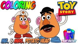 Disney Coloring Book Pages - Pixar Toy Story 4 Mr. and Mrs. Potato Head Paint Bucket Coloring Pages