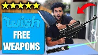 I Bought Every Free DANGEROUS WEAPON On WISH 2!! *MYSTERY BOX*