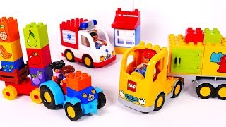 Ambulance Delivery Truck and Tractor Toy Vehicles Learn Colors with Lego Building Blocks
