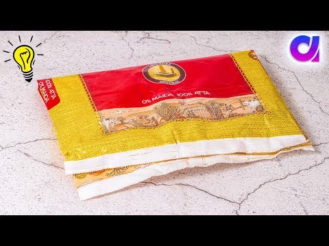 Best use of waste atta bag | reuse plastic bag  | Room decor 2019 | Artkala