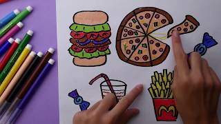 How To Draw  Food  for Kids. Coloring pizza burger soda potatoes fried for children