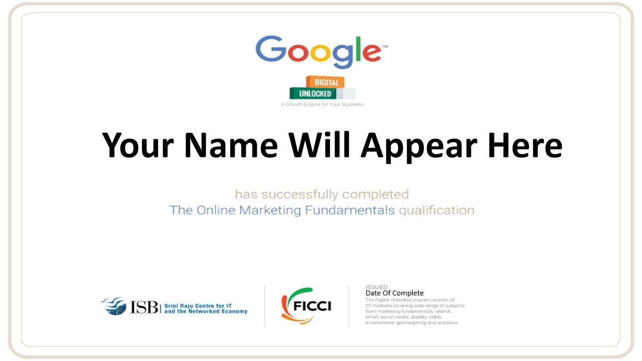 Free Google Certification Digital Marketing Youtube