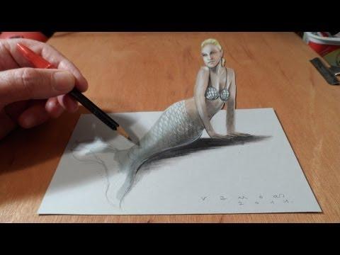 how-to-draw-a-3d-mermaid---drawing-anamorphic-illusion---vamos