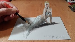 How to Draw a 3D Mermaid - Drawing Anamorphic Illusion - Vamos