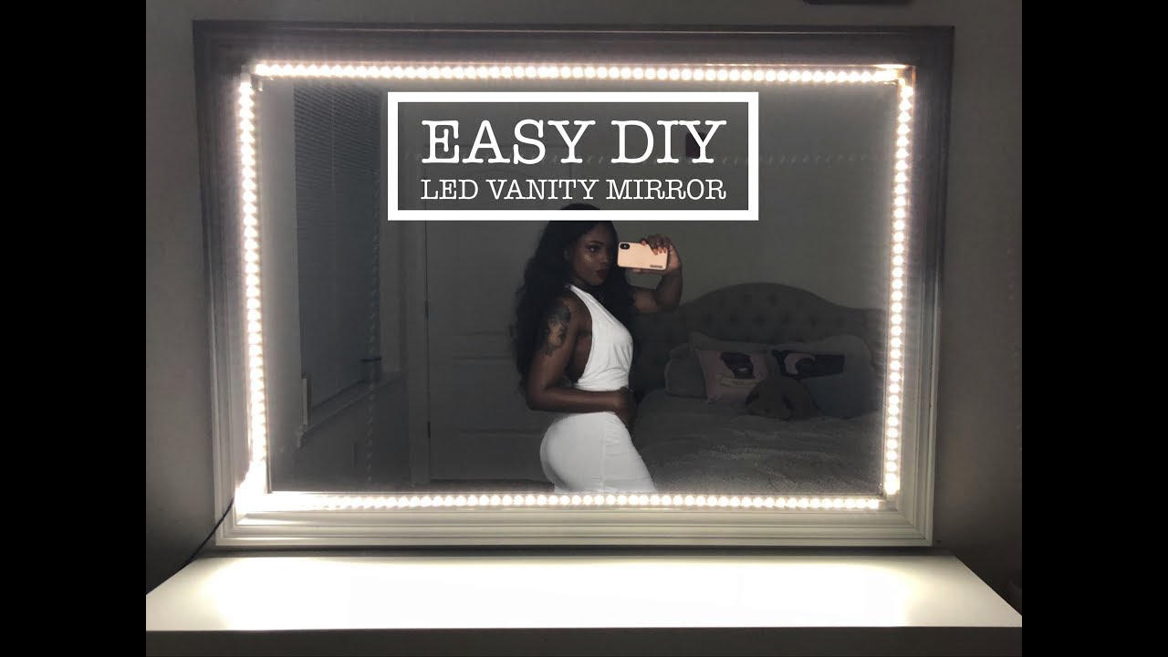 EASY DIY LED LIGHT UP VANITY MIRROR WITH REMOTE  TUTORIAL BY YANAGLO  YouTube