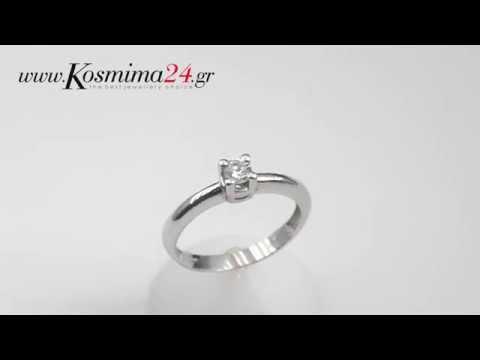 Δαχτυλιδια χειροποιητα, μονοπετρα 14Κ 007029