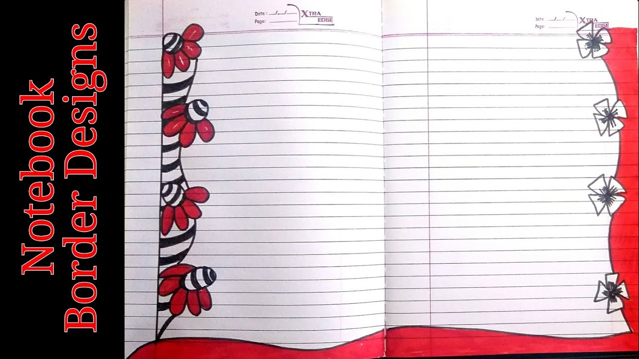 Notebook border designs|rulled paper borders|simple border designs on paper|front page border design