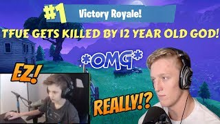 TFUE GETS KILLED BY 12 YEAR OLD GOD IN FORTNITE! (BOTH PERSPECTIVES!) (Fortnite Stream Highlights)