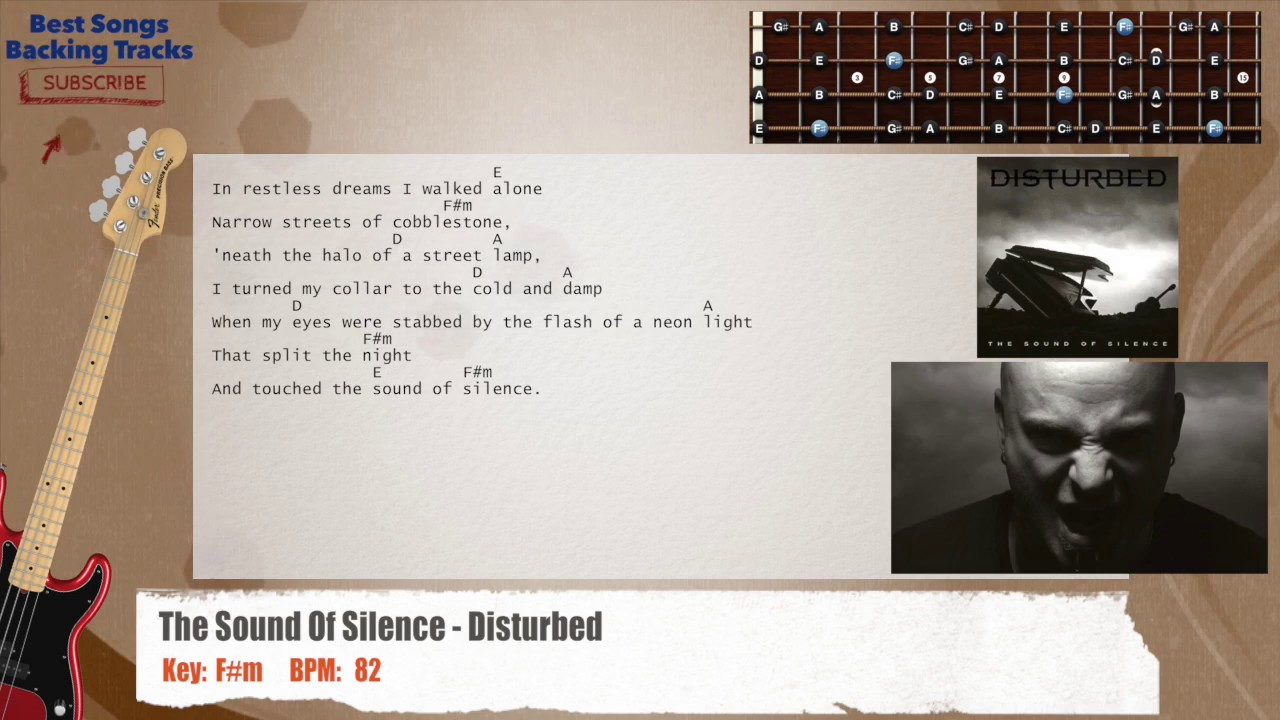 The Sound Of Silence Disturbed Bass Backing Track With Chords And