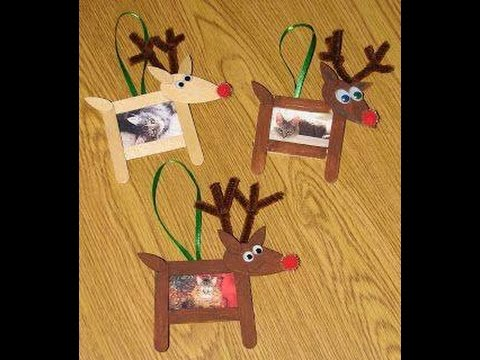 How To Make Reindeer Cork Picture Frame Using Popsicle Stick Christmas Crafts For Kids