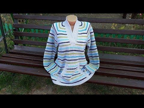 Пуловер с карманом (из остатков пряжи). Часть 5. Обзор готового изделия.