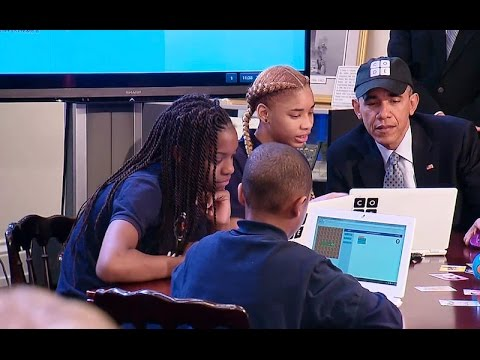 "President Obama Meets with Students at an ""Hour of Code"" Event"