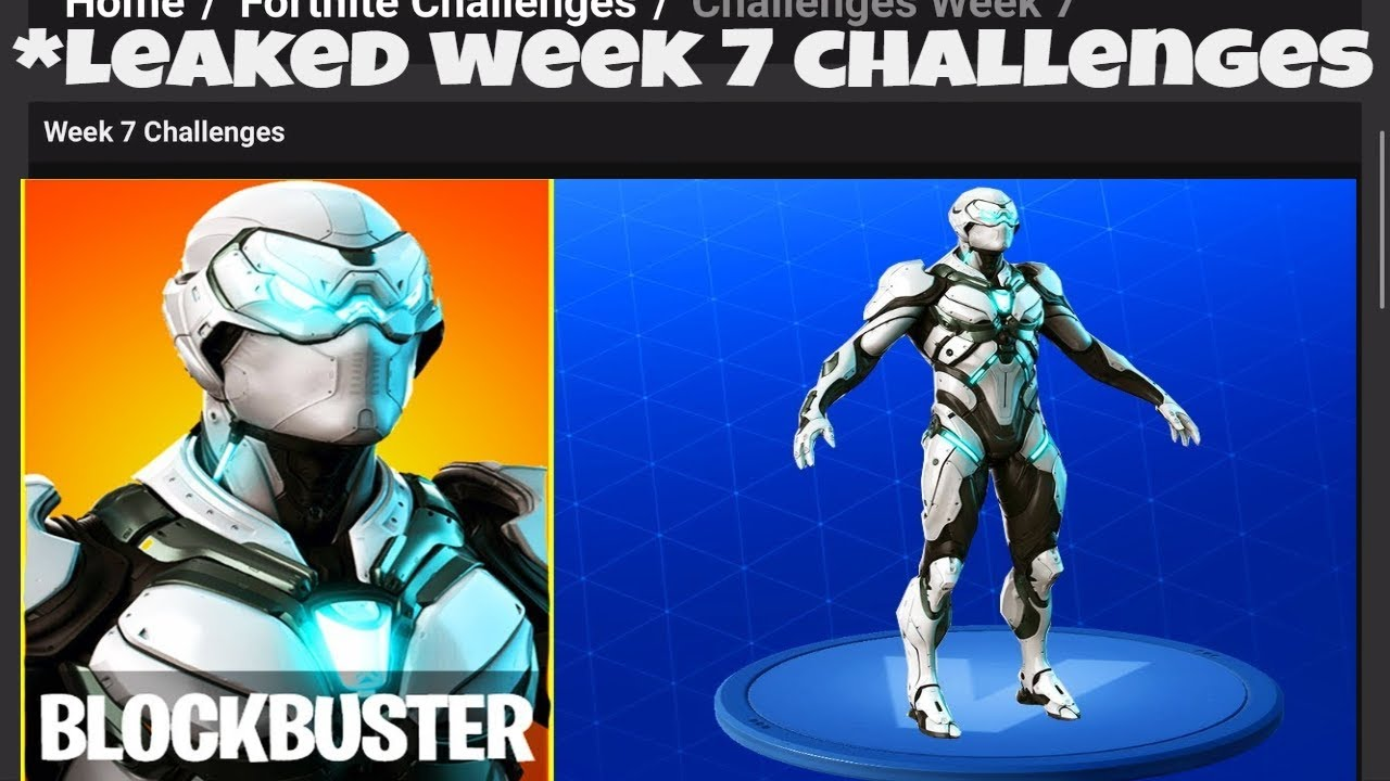 all week 7 battlepass challenges leaked how to unlock secret blockbuster skin fortnite weekly - blockbuster fortnite skin leaked