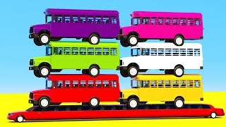 Learning Colors Video for Kids BUS and Helicopter Cars Toys for Children Superheroes for Babies