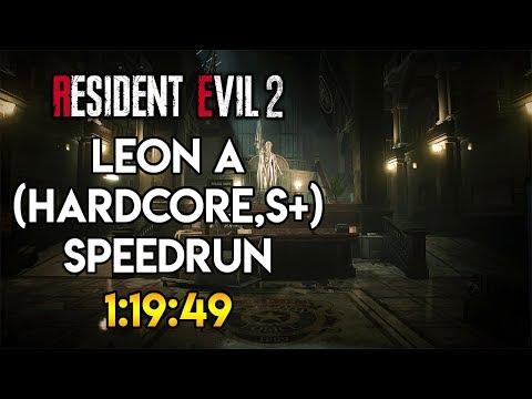 Resident Evil 2 Remake - Leon A (Hardcore) S+ Speedrun 1:19:49