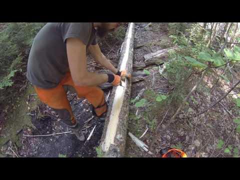Building A Bog Bridge On A Hiking Trail